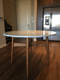 West Elm Reeve Mid Century Marble Dining Table | Chairish
