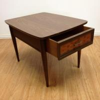 Mid-Century Woven Front & Formica End Table | Chairish