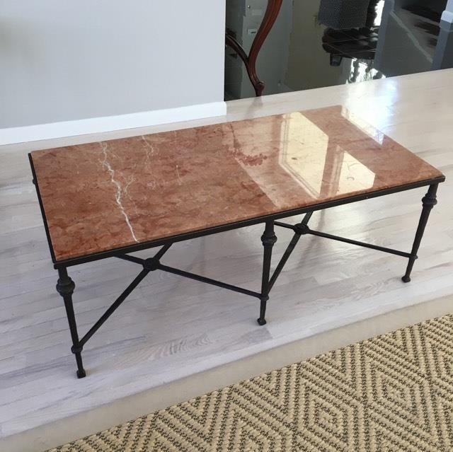 Wrought Iron Marble Top Coffee Table