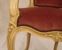 Antique Ivory Louis XV Style Low Back Fauteuil | Chairish