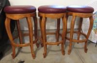 Traditional Burgundy Leather Bar Stools - Set of 3 | Chairish