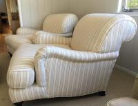 Restoration Hardware Linen Chairs & Ottoman - Pair | Chairish