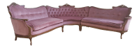 Vintage French Provincial Pink Velvet Sectional Sofa ...