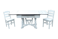 White Porcelain Expandable Farmhouse Table Set | Chairish