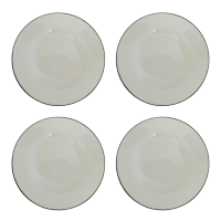 White & Silver Rimmed Soup Bowls - Set of 4 | Chairish