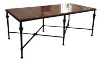 Wrought Iron Marble Top Coffee Table | Chairish