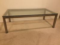 Stainless Steel & Glass Coffee Table | Chairish