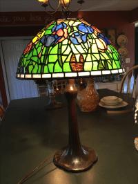 Antique Handel Art Nouveau Leaded Slag Glass Shade Lamp