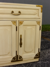 Vintage Asian Style Cabinet With Brass Hardware | Chairish