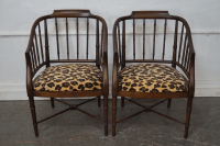Solid Mahogany Faux Bamboo Barrel Back Arm Chairs - A Pair ...
