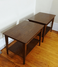 Lane Mid-Century Modern Danish Walnut End Tables | Chairish