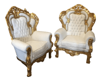 White Leather Tufted Throne Chairs - A Pair | Chairish