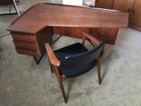 Peter Lovig Mid-Century Corner Writing Desk & Chair | Chairish