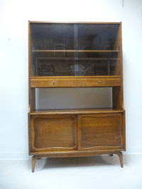 Lane Mid-Century Modern Walnut Hutch China Cabinet | Chairish