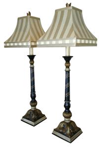 Ethan Allen Hand-Painted Buffet Lamps - A Pair | Chairish