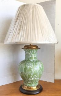 Frederick Cooper Green Vase Table Lamp With Shade | Chairish