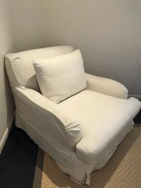 Restoration Hardware Roll Arm Slipcovered Chair   Chairish