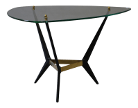 Mid-Century Glass & Black Metal End Table   Chairish