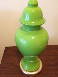 Mid-Century Lime Green Ginger Jar Table Lamp | Chairish