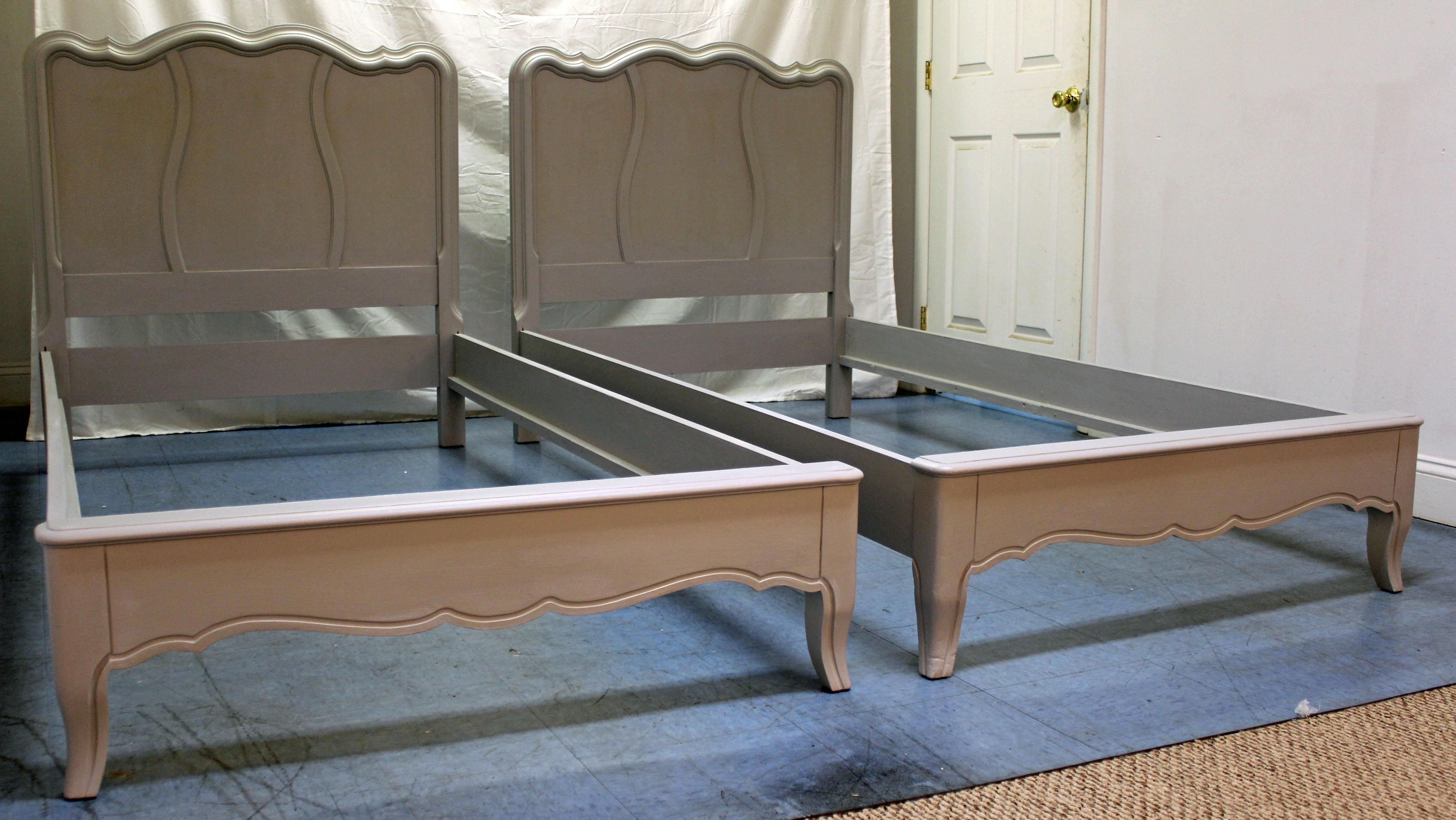 French Country Painted Gray Twin Size Bed Frames A Pair