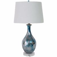Vintage Blue Mercury Glazed Glass Lamp | Chairish