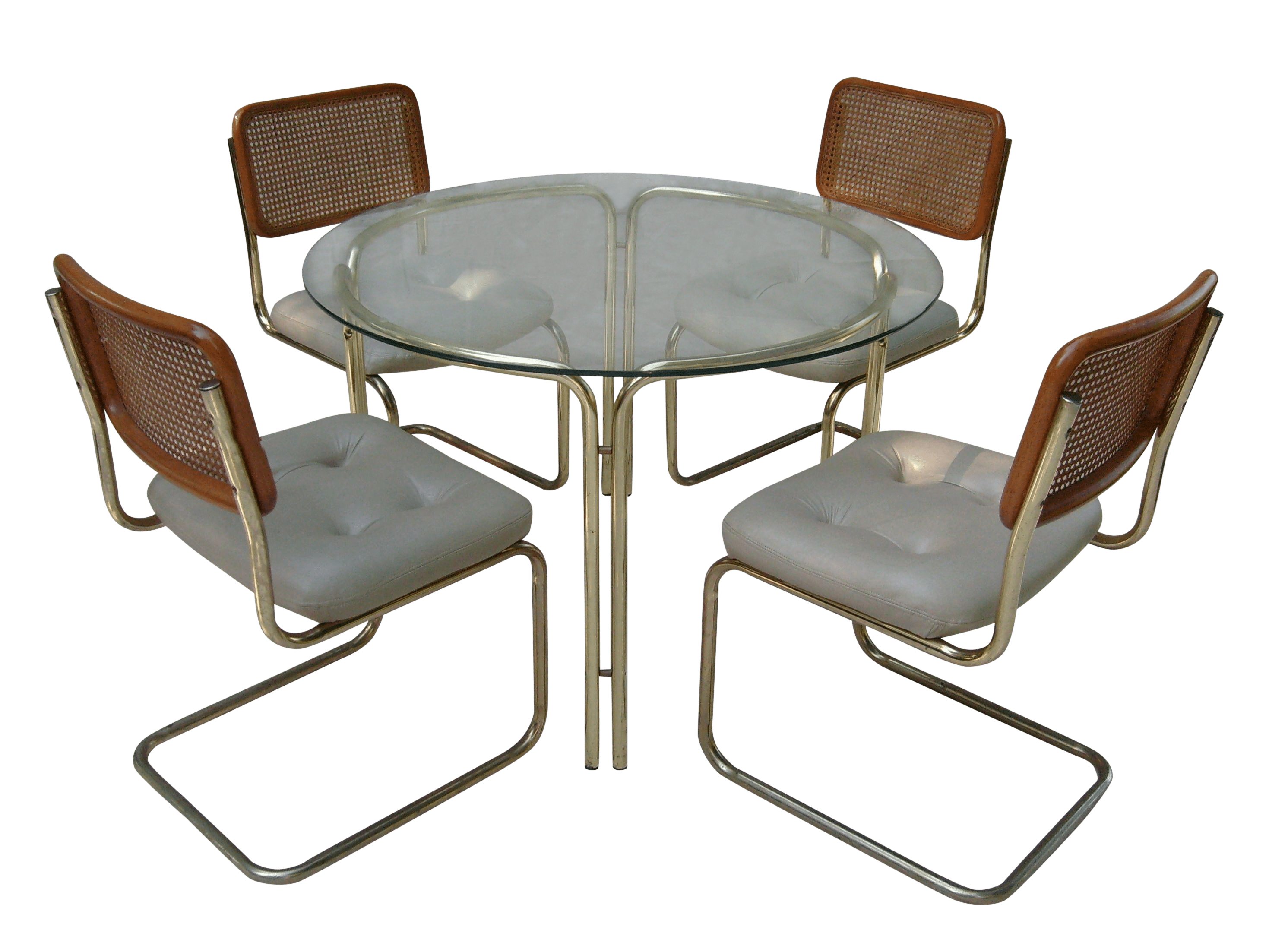 Brass Glass Dining Table 4 Cesca Style Chairs Chairish