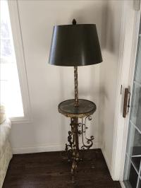 Antique Brass & Marble Floor Lamp | Chairish