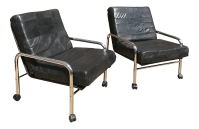 Mid-Century Chrome & Leather Chairs - A Pair | Chairish