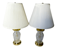 Vintage Cut Crystal & Brass Table Lamps - A Pair | Chairish