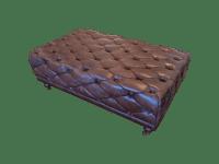 Brown Tufted Leather Rectangular Ottoman   Chairish