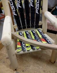 Cedar & Recycled Skis Rocking Adirondack Chair