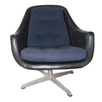 Mid-Century Swivel Leather Chair | Chairish