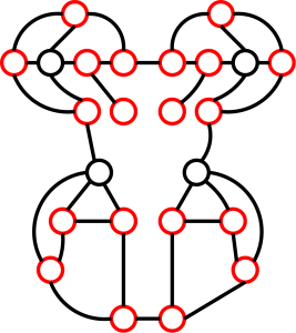The Pac-graph. The odd nodes are shown in red.