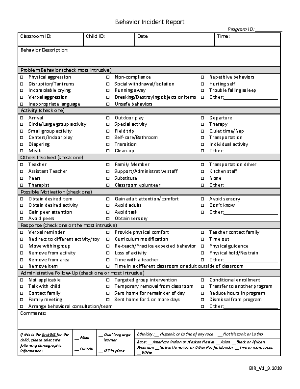 incident report blank form