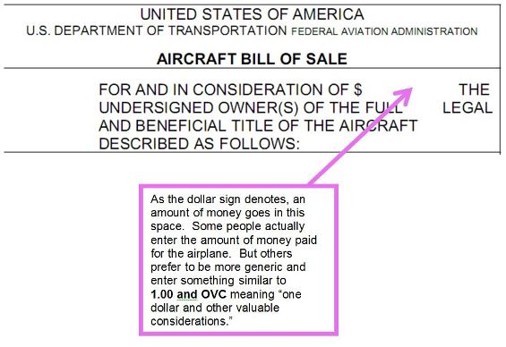 Aircraft Bill of Sale - FAA Form 8050-2 Chamberlain Aviation Sales