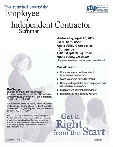 Employee or Independent Contractor Seminar - Apr 17, 2019 - Apple