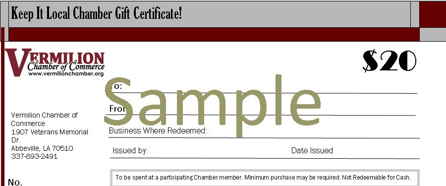 Keep It Local Gif Certificates - Vermilion Chamber of Commerce, LA - sample gift certificate