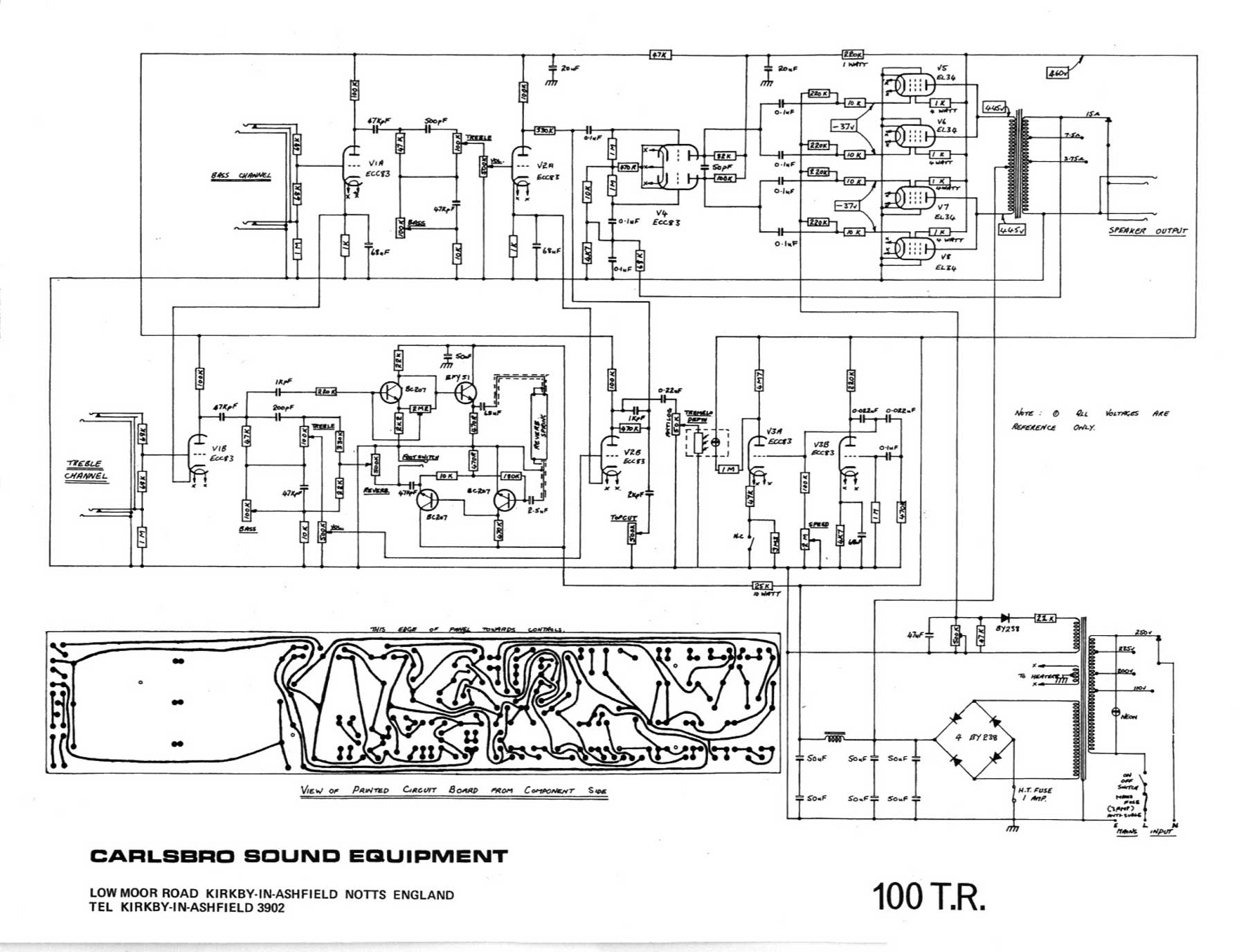 Tivoli Audio Ac Adapter Carlsbro 100 T.r. Amp Schematic