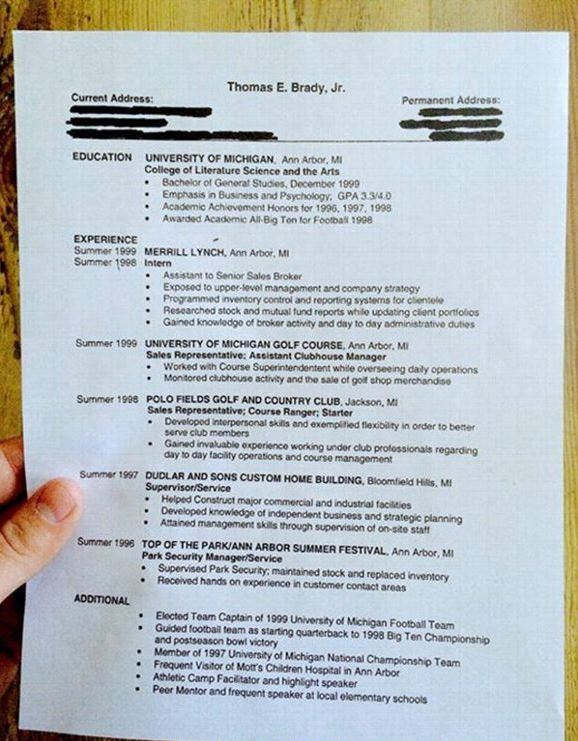 Does Your Resume Look like Tom Brady\u0027s College Grad Resume from 1999? - What A Resume Should Look Resume
