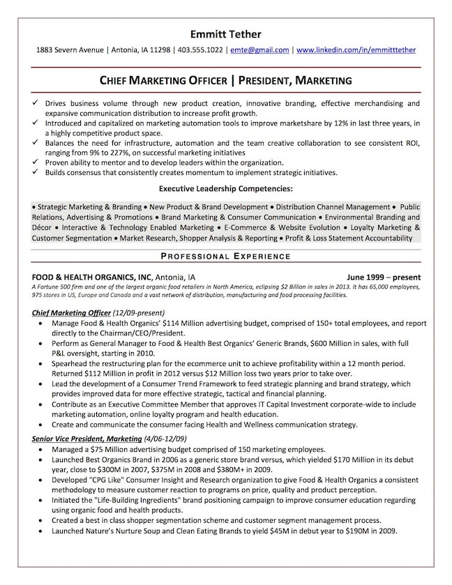 resume profile human resources