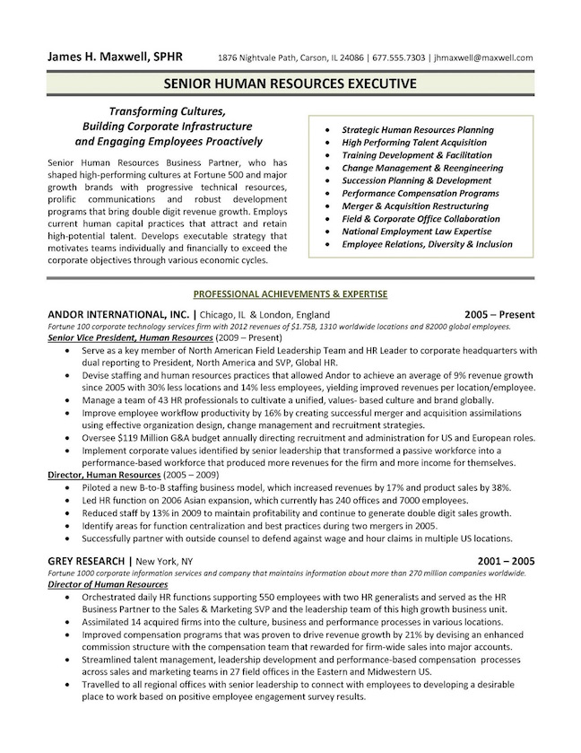 Executive Resume Samples - sample qualifications for resume