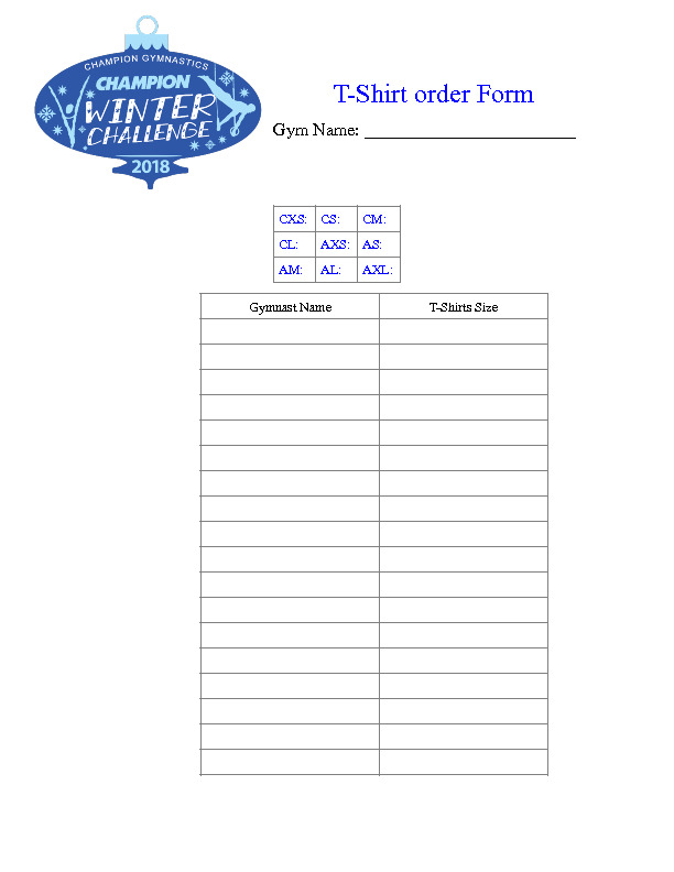 winter challenge t shirt order form \u2013 Champion Gymnastics