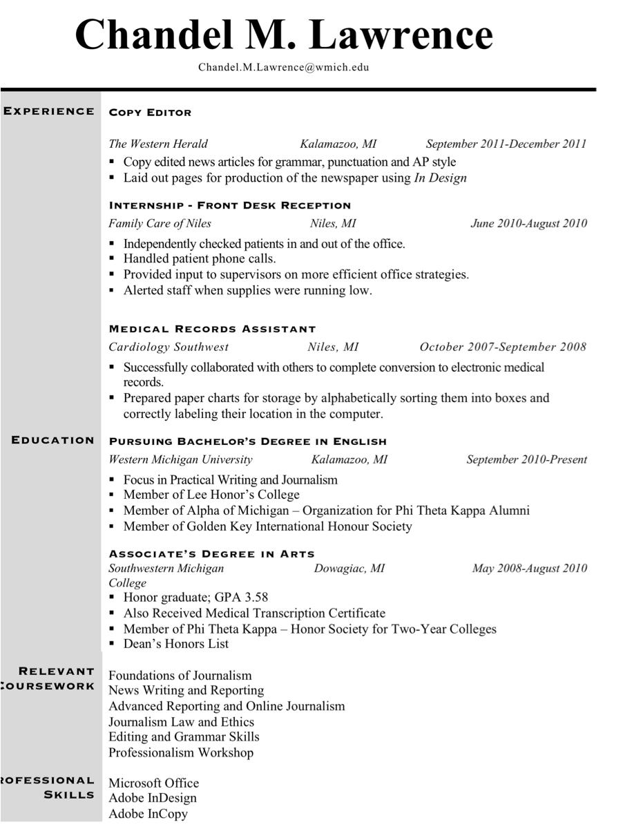 Plain text copy of resume