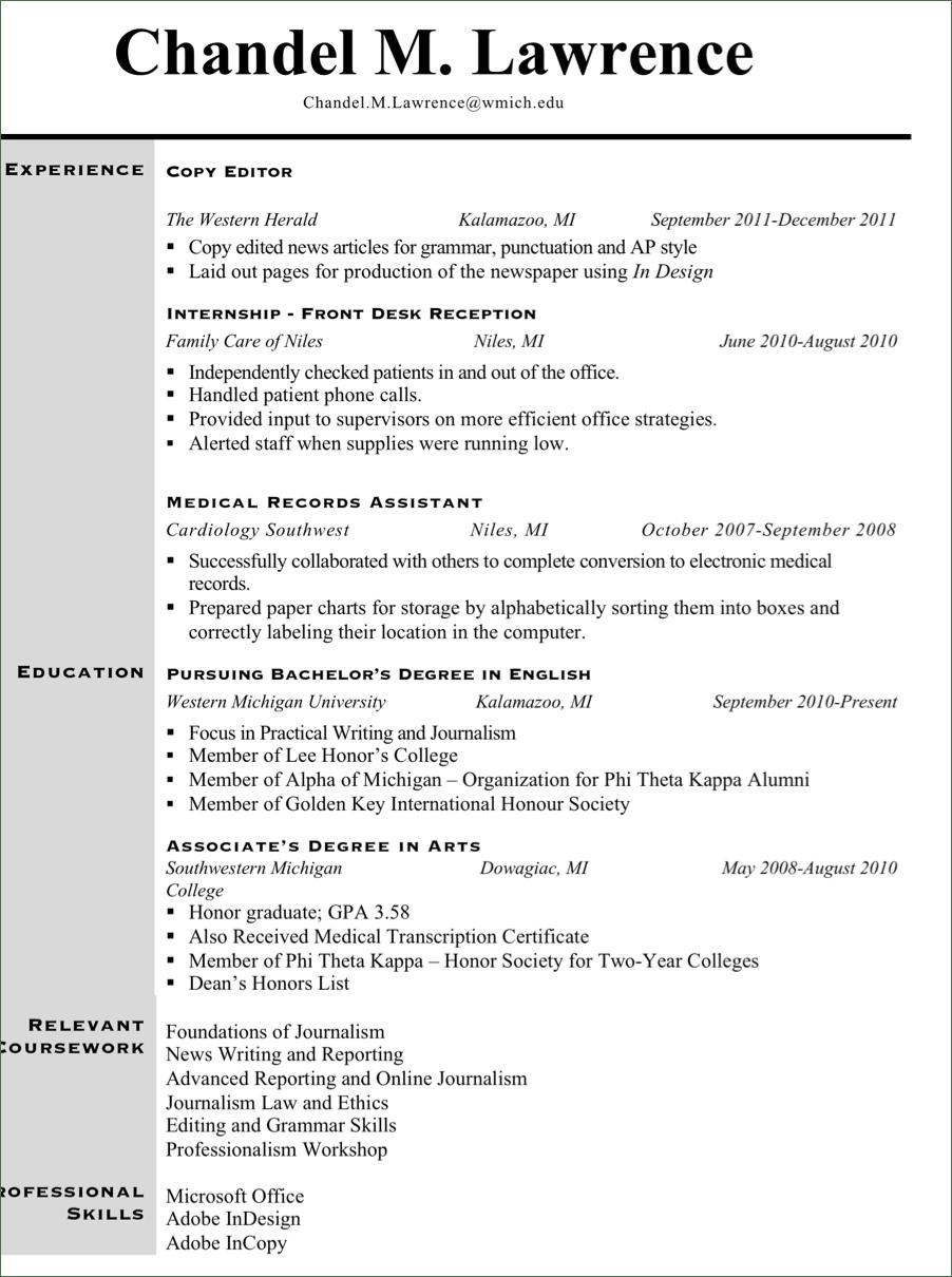 journalism resume