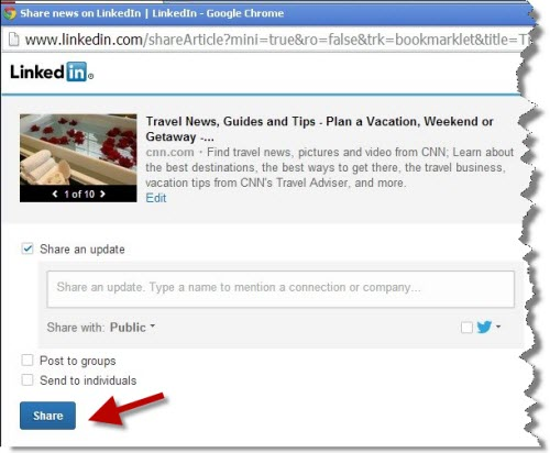 Quickly share from anywhere with the LinkedIn bookmarklet u2013 Change - claim form in pdf