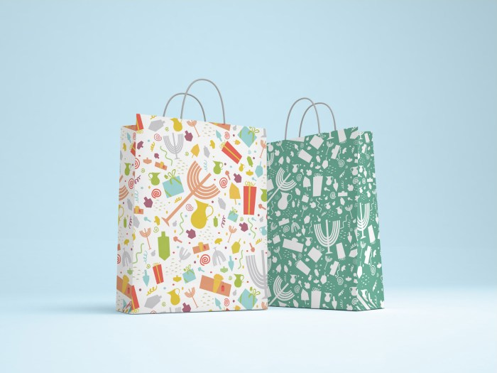 chanukah patterned bags