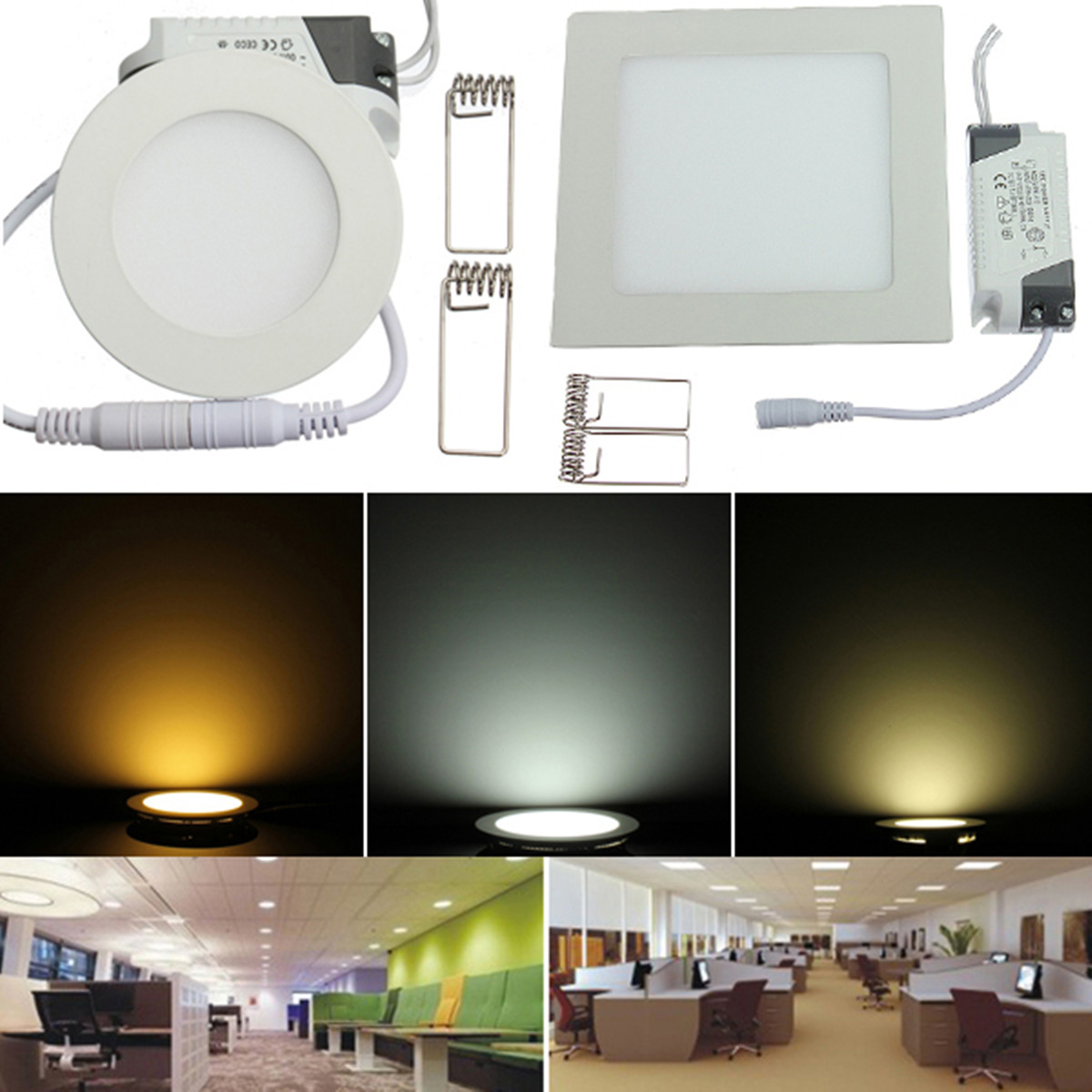 Led Panel Light Square And Round 6w 9w 12w 15w 18w 21w Dimmable Round Square Panel Led