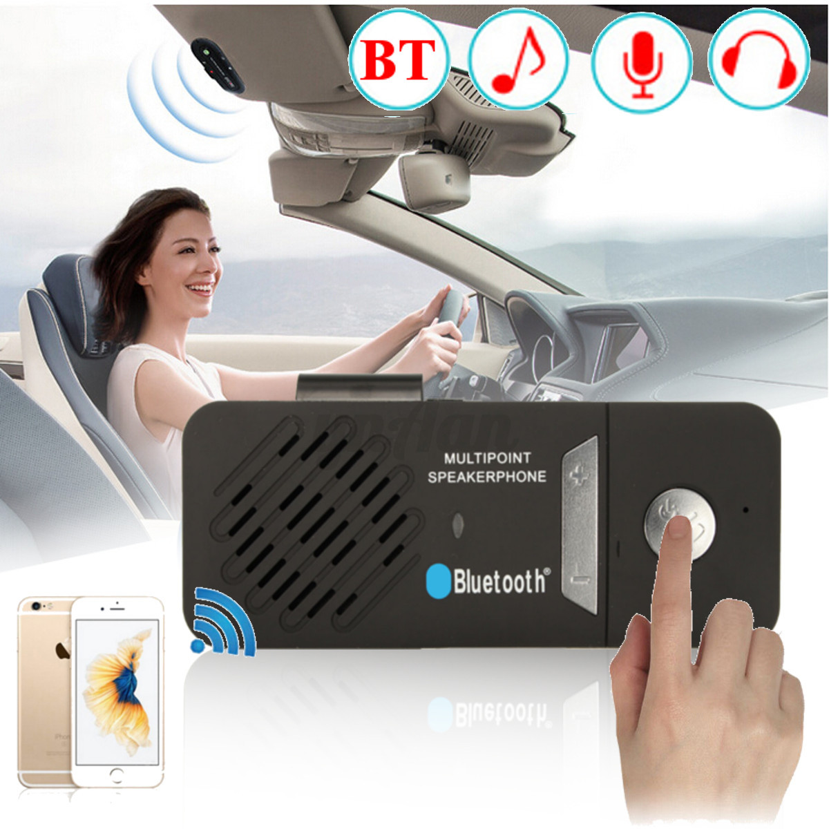 Manos Libres Telefono Coche Bluetooth Multipoint Wireless Handsfree Car Sun Visor