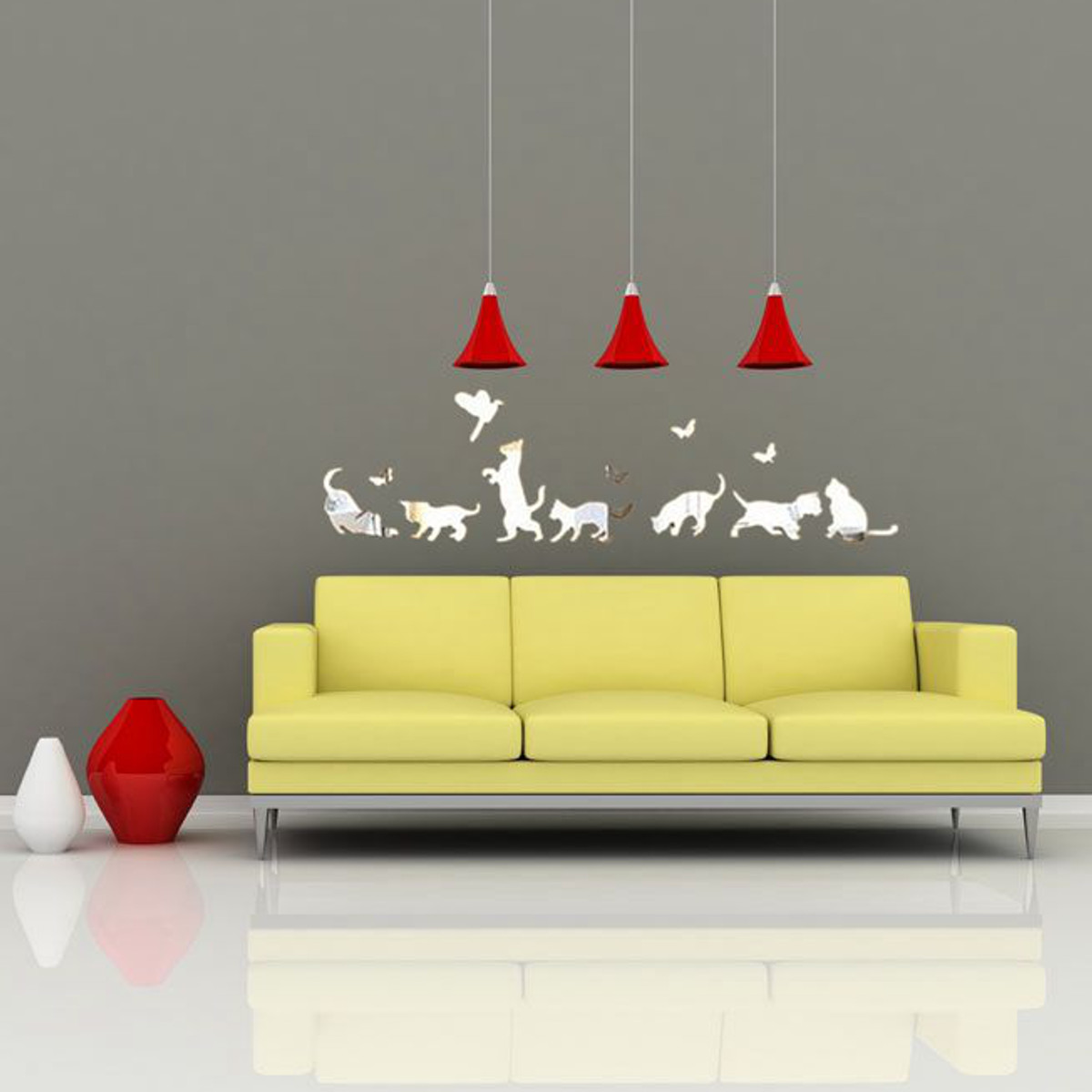 Modern Vinyl Wall Art Cats Dogs Modern Acrylic Plastic Mirror Wall Home Decal