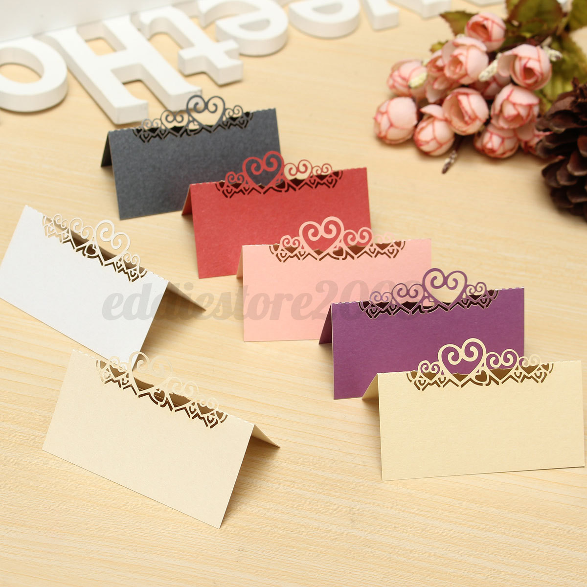 Dropshipping Decoration 10pcs Multi Color Heart Cut Wedding Party Table Name Place